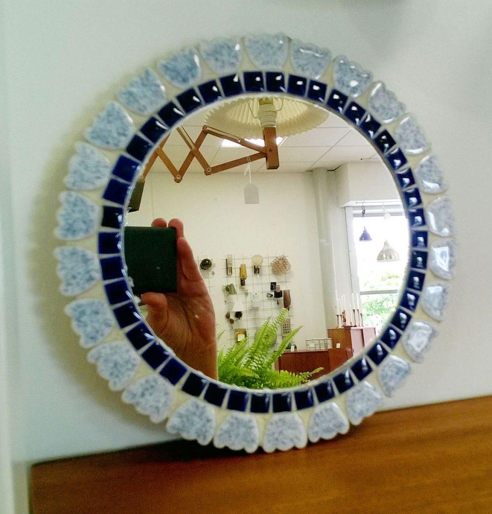 boligtilbehoer spejl lille rundt mosaik