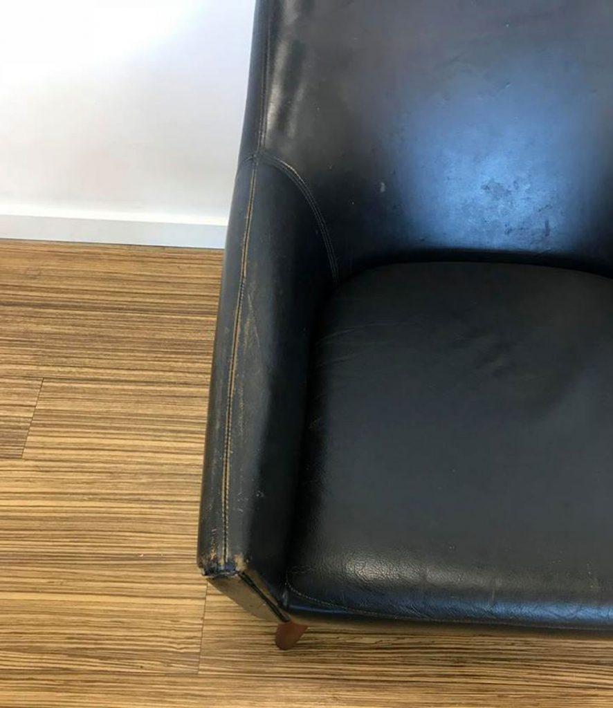 dekohjem retromoebler flot aenestol sort laeder ben teak laederet perfekt patineret dansk moebelproducent