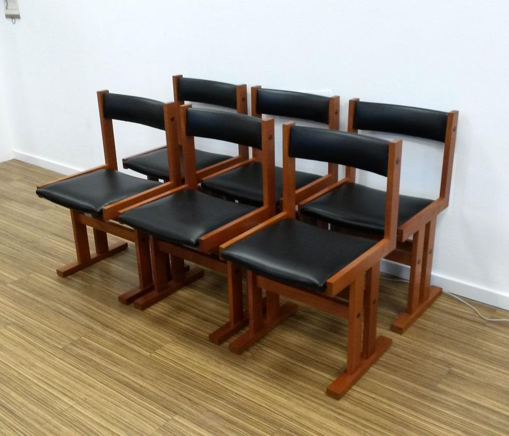 dekohjem retromoebler flotte og specielle spisestole teak med nyt sort nappa dansk moebelproducent fra erne
