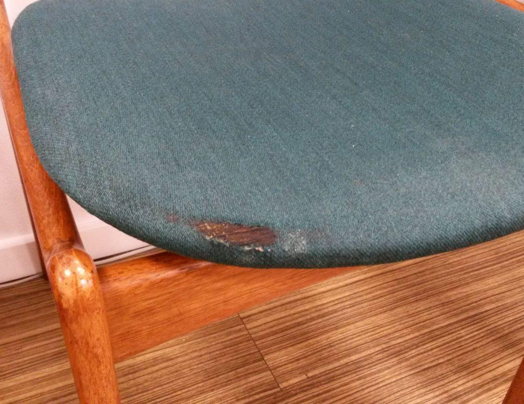 dekohjem retromoebler smukke spisestole erik buch teak stk blaa groent stof