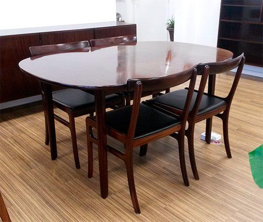 moebler spisebord 4 stole ole wanscher mahogni