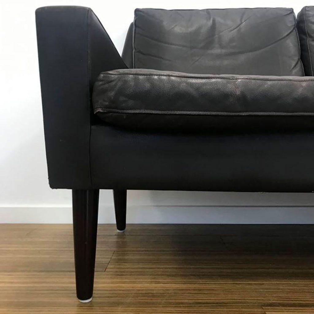 dekohjem retromoebler sofa sort laeder palisander saelges