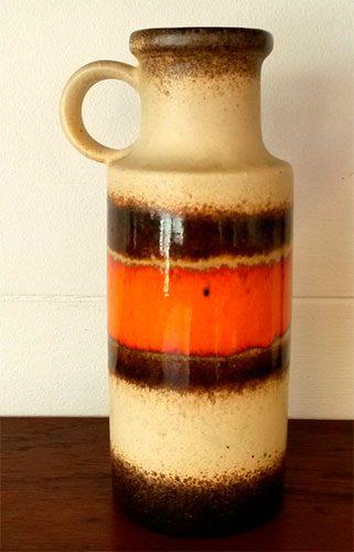 boligtilbehoer vase keramik wgermani orange brun