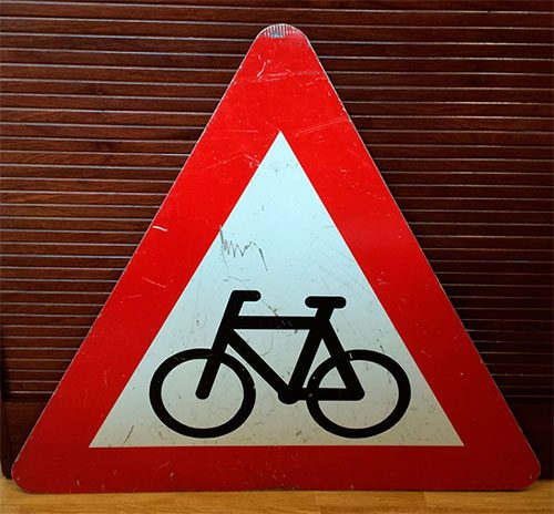 boligtilbehoer vejskilt trekantet med cykel stort