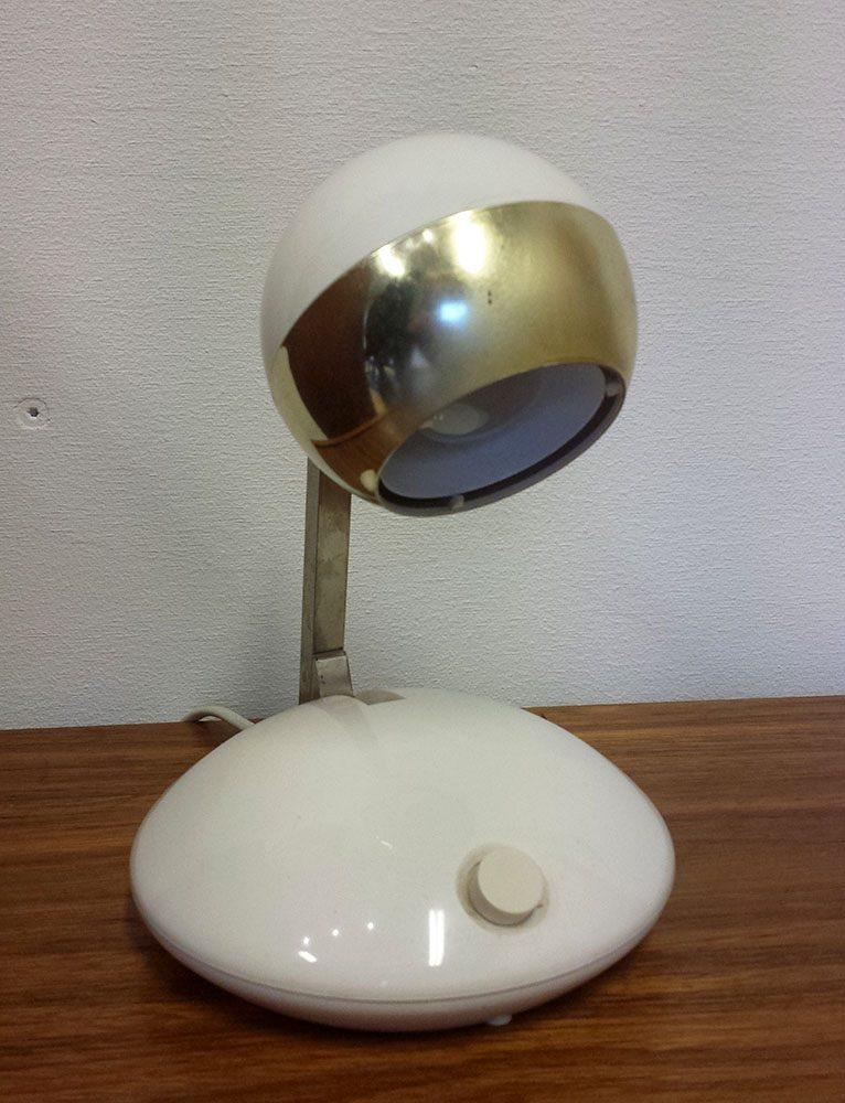 boligtilbehoer bordlampe hvid guld hoejde indstilling