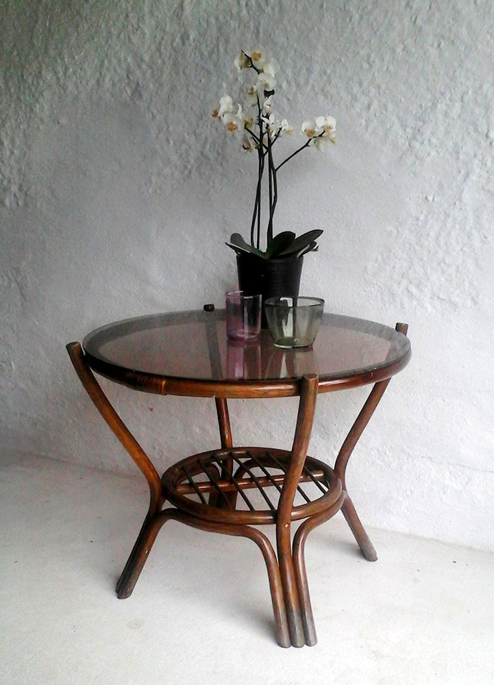 moebler bord rundt med glasplade bambus