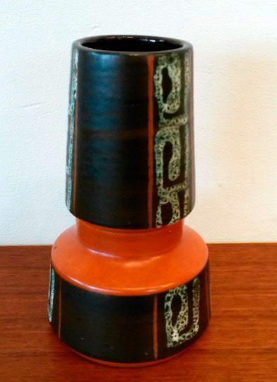 boligtilbehoer vase west germany keramik sort orange