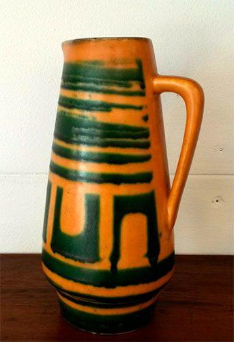 boligtilbehoer kande keramik orange groen